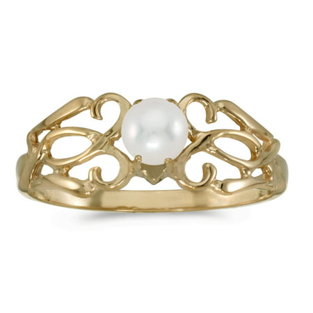 10k Yellow Gold Freshwater Cultured Pearl Filigree Ring ()