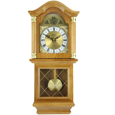 Bedford Clock Collection Classic Golden Oak Chiming Wall Clock With Swinging Pendulum