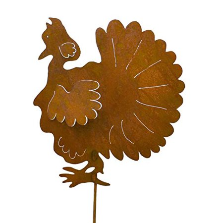 Turkey Rustic Metal Yard Stake. Whimsical Thanksgiving Decoration Idea. Handcrafted by Oregardenworks in the USA!