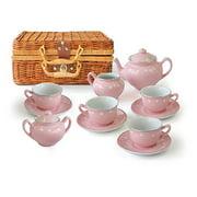 Children's 13 Piece Pink Porcelain Play Tea Set with Wicker Basket