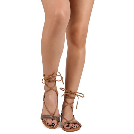 Qupid DH39 Women Leatherette Beaded Thin Strap Ankle Wrap Gladiator Sandal