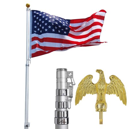 YesHom 16'/20'/25'/30ft Telescopic Aluminum Flag Pole w/ Eagle Top 3'x5' Us Flag & Ball Top Kit Outdoor