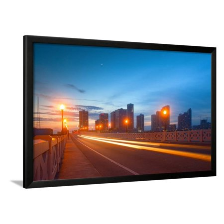 City of Miami Florida Colorful Sunset Panorama of Downtown Framed Print Wall Art By Fotomak (Spirit Halloween Sunset Miami)
