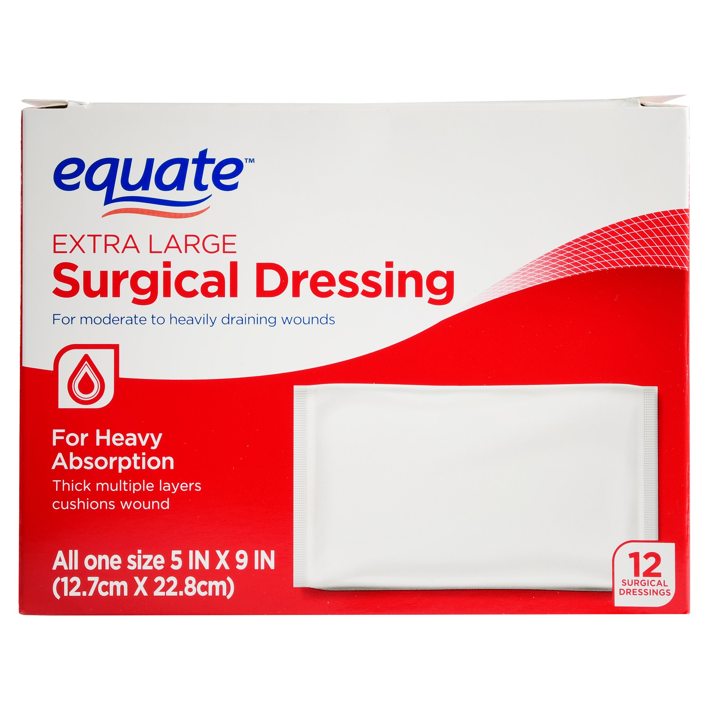 "Equate Surgical Dressing, XL, 5""x9"", 12 Ct"