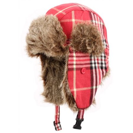 Plaid Trapper Hat w  Faux Fur Warm Hunting Hat Ear Flaps - Walmart.com da45c843159