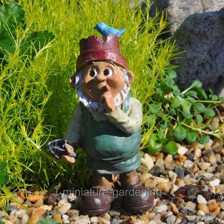Darice Miniature Fairy Garden Gnome Boy With Bird Hat