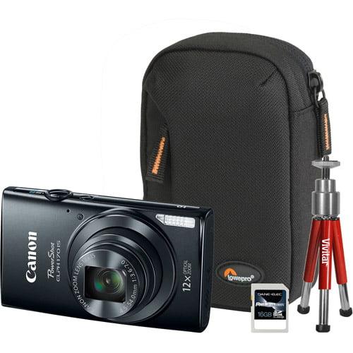 Canon Black PowerShot ELPH 170 IS Digital Camera Bundle with 20 Megapixels and 12x Optical Zoom