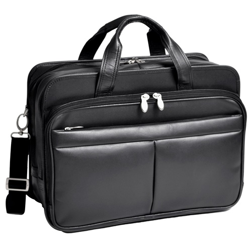 """McKlein 17"""" Walton Expandable Double Compartment Leather Laptop Case with Removable Sleeve, Black by McKleinUSA"""