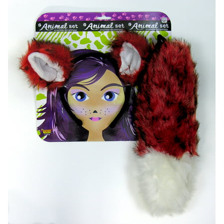 Adult Fox Animal Headband Ears And Tail Dress Up Kit Costume Accessory Set - Fox Ear Costume
