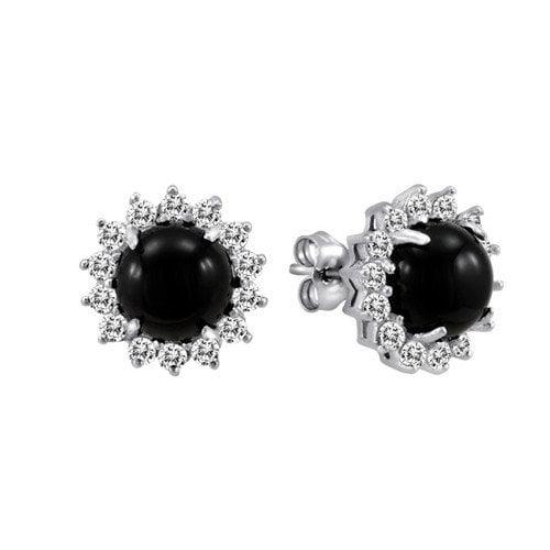 JewelExcess Round Cut Genuine Onyx and Topaz Stud Earrings