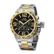 Mens Chronograph Stainless Steel Case Canteen Bracelet Black Dial Two-tone Watch - CB43