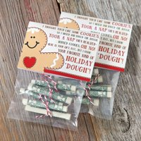 Money Holiday Treat Bags and Toppers- Set of 12 Christmas Treat Bags And toppers