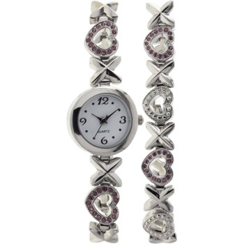 Women's Crystal Accented Round Silver-Tone Watch