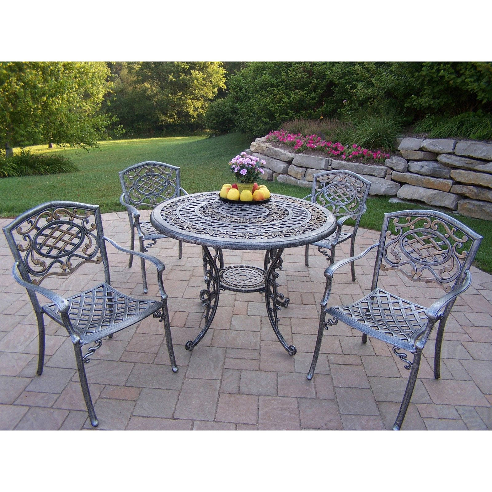 Oakland Living Mississippi Cast 42 in. Patio Dining Set - Seats 4