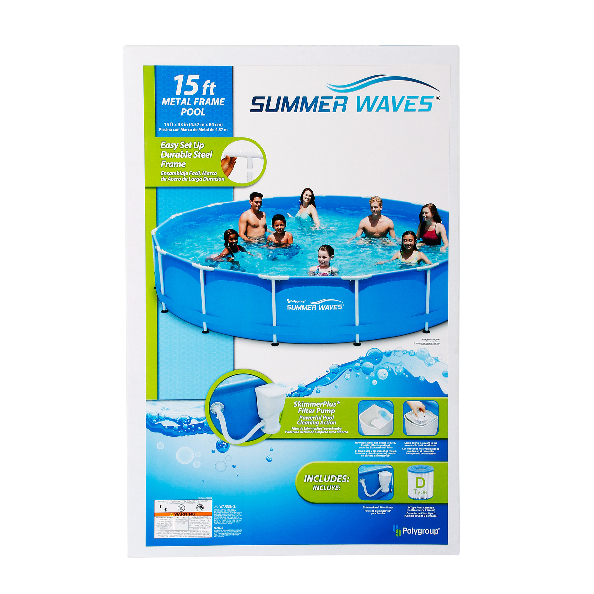 Summer Waves 15 X33 Metal Frame Above Ground Swimming Pool