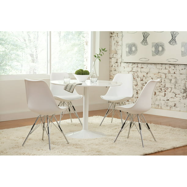 Coaster Company Lowry Mid-Century Modern Round Dining Table, White