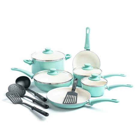 GreenLife Ceramic Non-Stick Cookware Set, 14 Piece