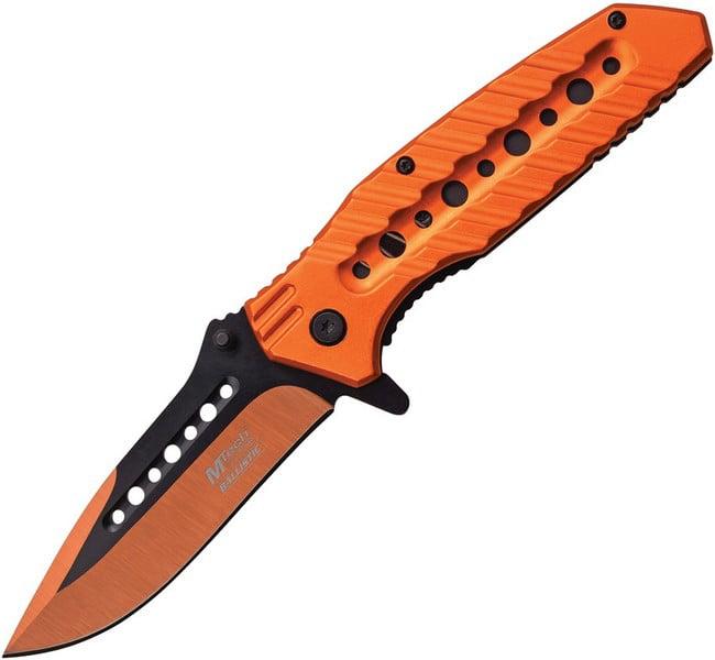 SPRING-ASSIST FOLDING POCKET KNIFE Mtech Orange Black Blade Tactical Heavy Duty