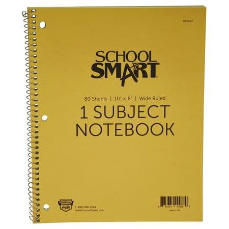 Non Ecc Cl5 Notebook - School Smart Spiral Non-Perforated 1 Subject Wide Ruled Notebook, 10 x 8 Inches
