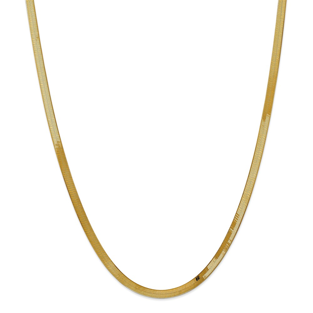 """14K Yellow Gold 4.0mm Silky Herringbone Necklace Chain -24"""" (24in x 4mm)"""