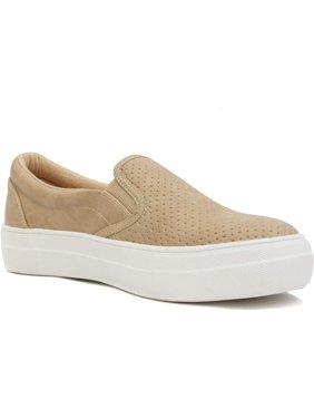 Soda Flat Women Shoes Slip On Loafers Casual Sneakers Memory Foam Insoles Hidden Platform / Flatform Round Toe CROFT-G Camel Beige Tan 7.5