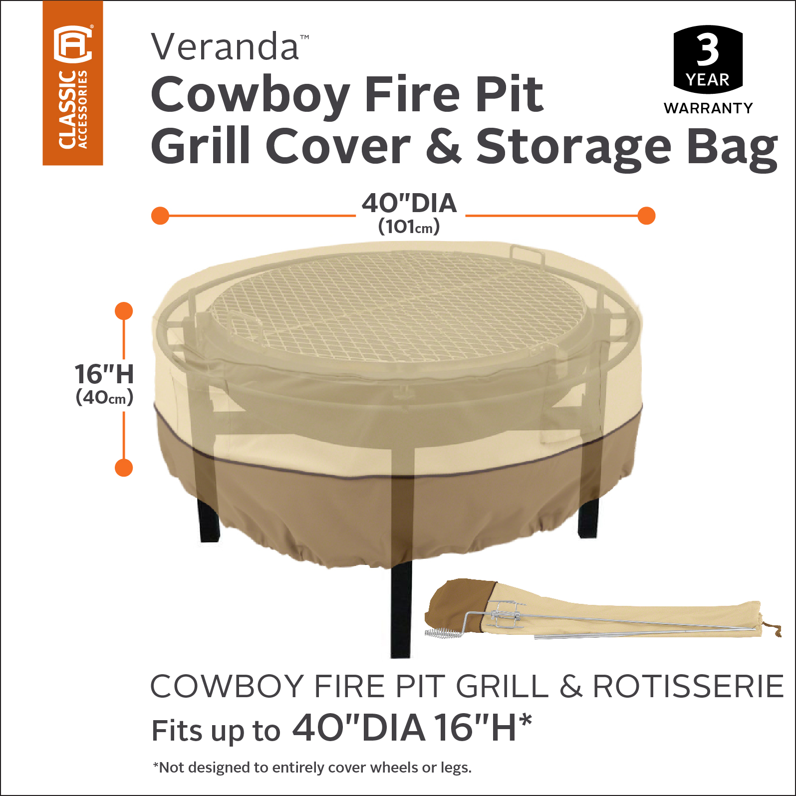 Classic Accessories Veranda Cowboy Fire Pit Grill Cover And