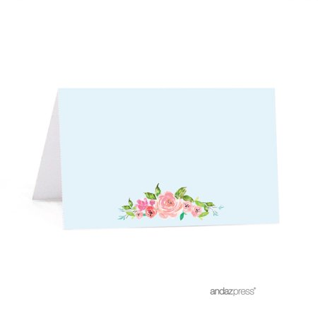 Party Place Cards (Wedding Pink Roses English Tea Party, 20-Pack Printable Table Tent Place)