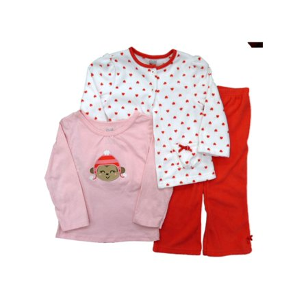 Carters Infant Girl 3 PC Set Monkey Shirt Orange Pants Fleece Jacket (Set Jacket Shirt Pants)