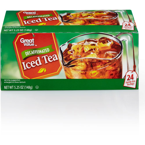 Great Value 100% Natural Decaffeinated Black Tea Bags Family Size, 24 ct
