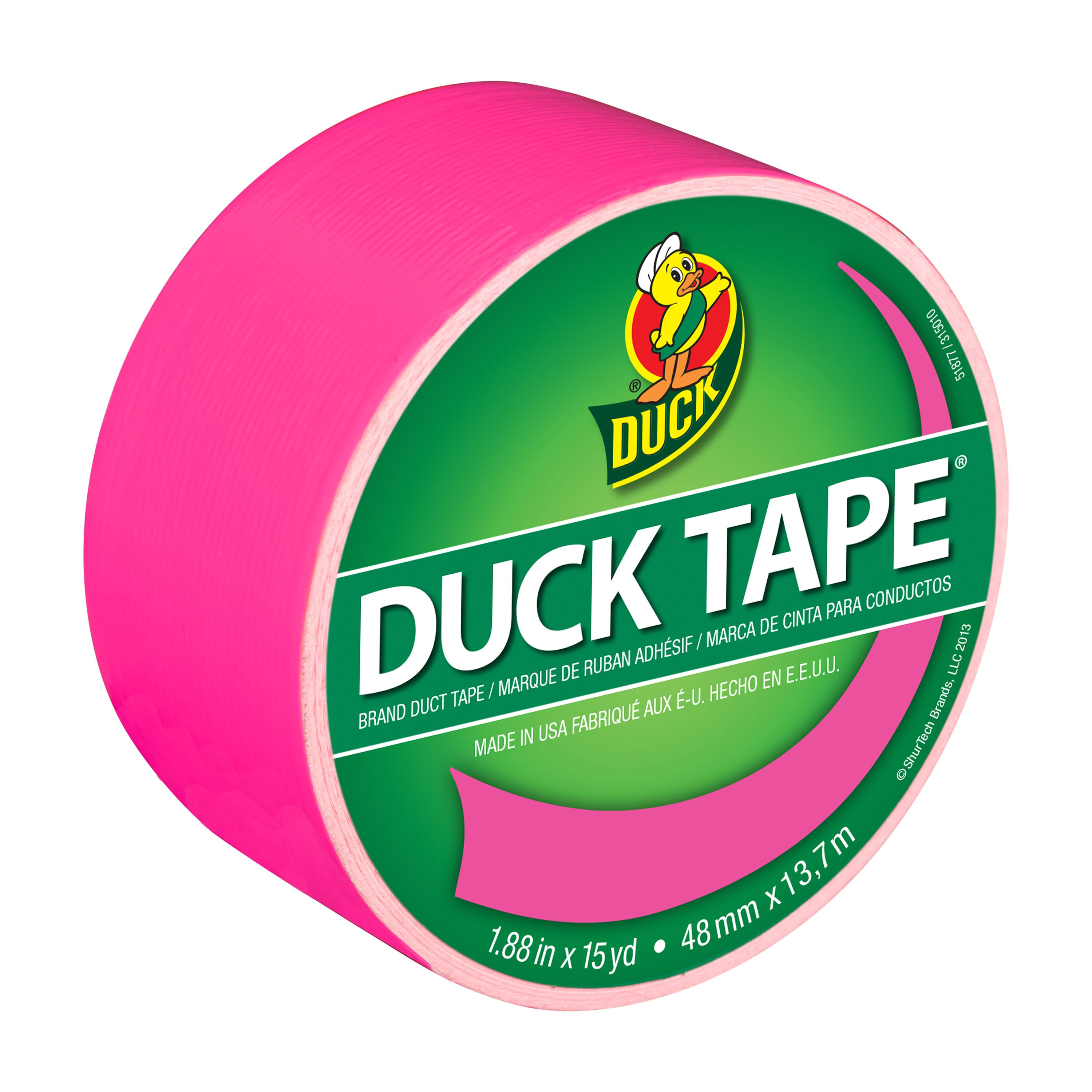 """Duck Brand Color Duct Tape, 1.88"""" x 15 yard, Pink Neon"""