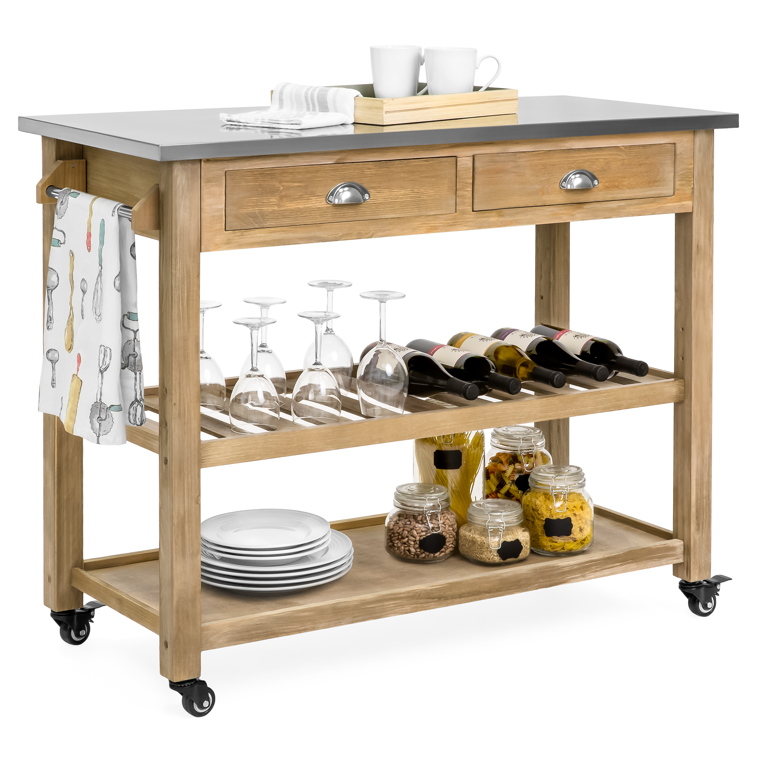 Best Choice Products Dining Kitchen Island Storage & Bar Cocktail Cart w/ Stainless Steel Top - Rustic Wood