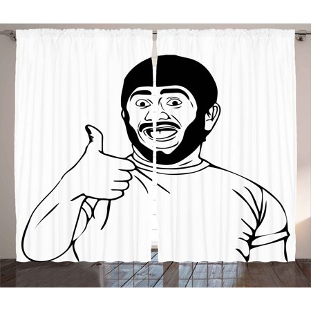 - Humor Curtains 2 Panels Set, Lol Happy Guy with Thumbs Up Bodily Gesture Cool Sounds Good Style Graphic Print, Window Drapes for Living Room Bedroom, 108W X 63L Inches, Black and White, by Ambesonne