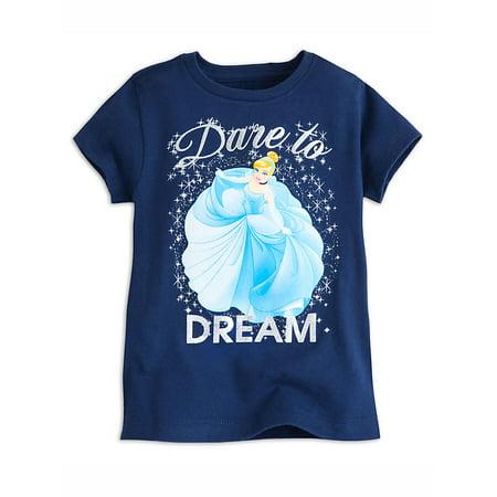"Disney Store Girls Cinderella ""Dare to Dream"" Short Sleeve T-Shirt, Blue"