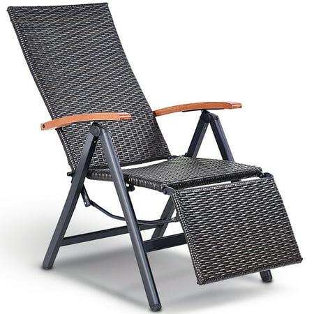 Aluminum Rattan Lounge Chair Recliner Patio Garden Furniture Folding Back - image 10 of 10