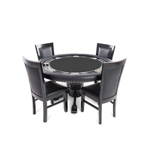 BBO Poker Nighthawk 5 Piece Poker Dining Table Set with Dining Chairs by
