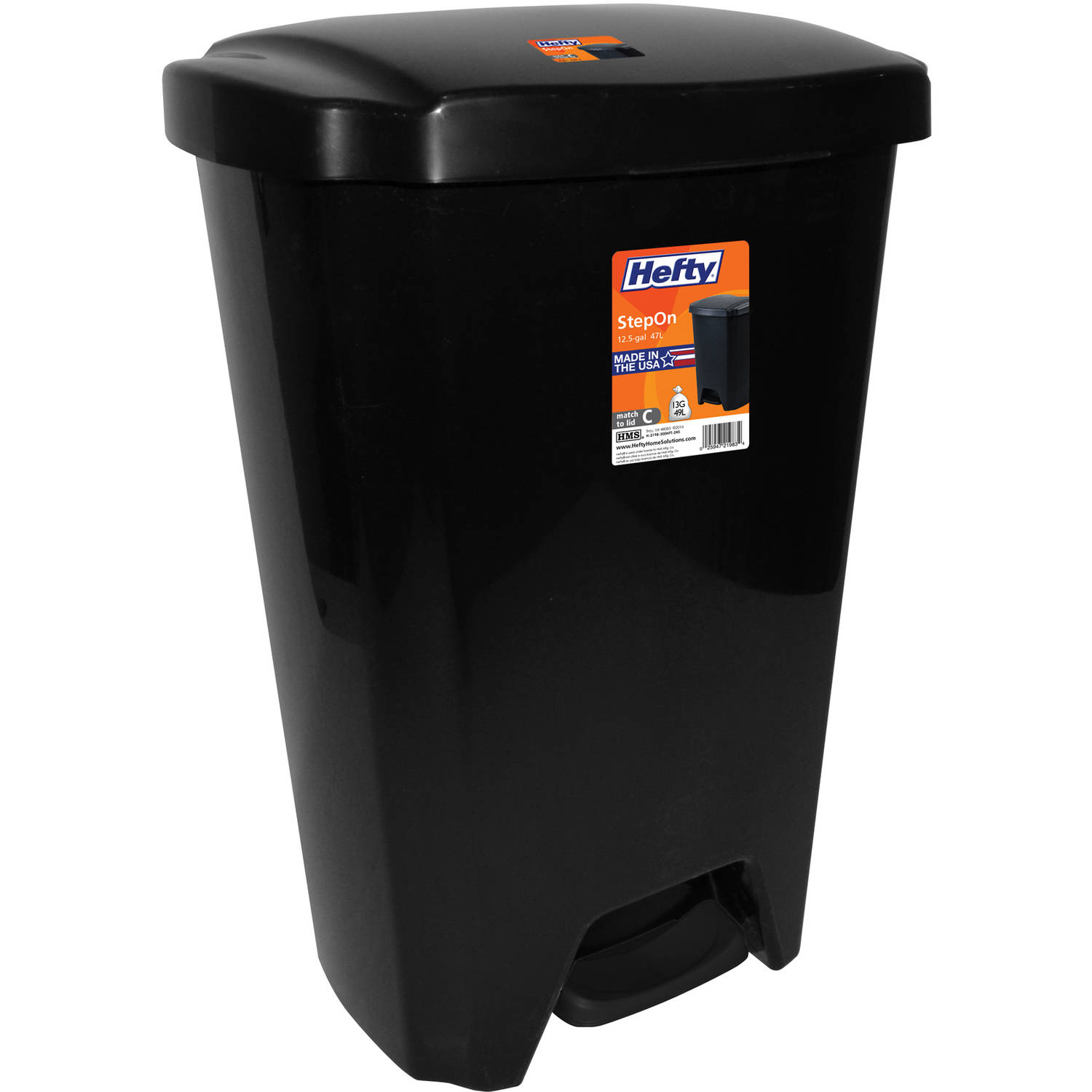 Hefty 13-Gallon Step-On Trash Can, Multiple Colors