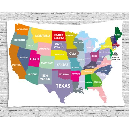 Map Tapestry  Usa Map With Name Of States In Different Colors America Geography Cartography Theme  Wall Hanging For Bedroom Living Room Dorm Decor  60W X 40L Inches  Multicolor  By Ambesonne