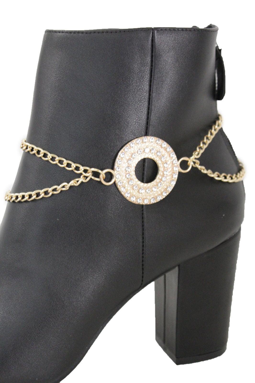 Women Silver Metal Chain Boot Bracelet Anklet Shoe Diamond Charm Jewelry Bling