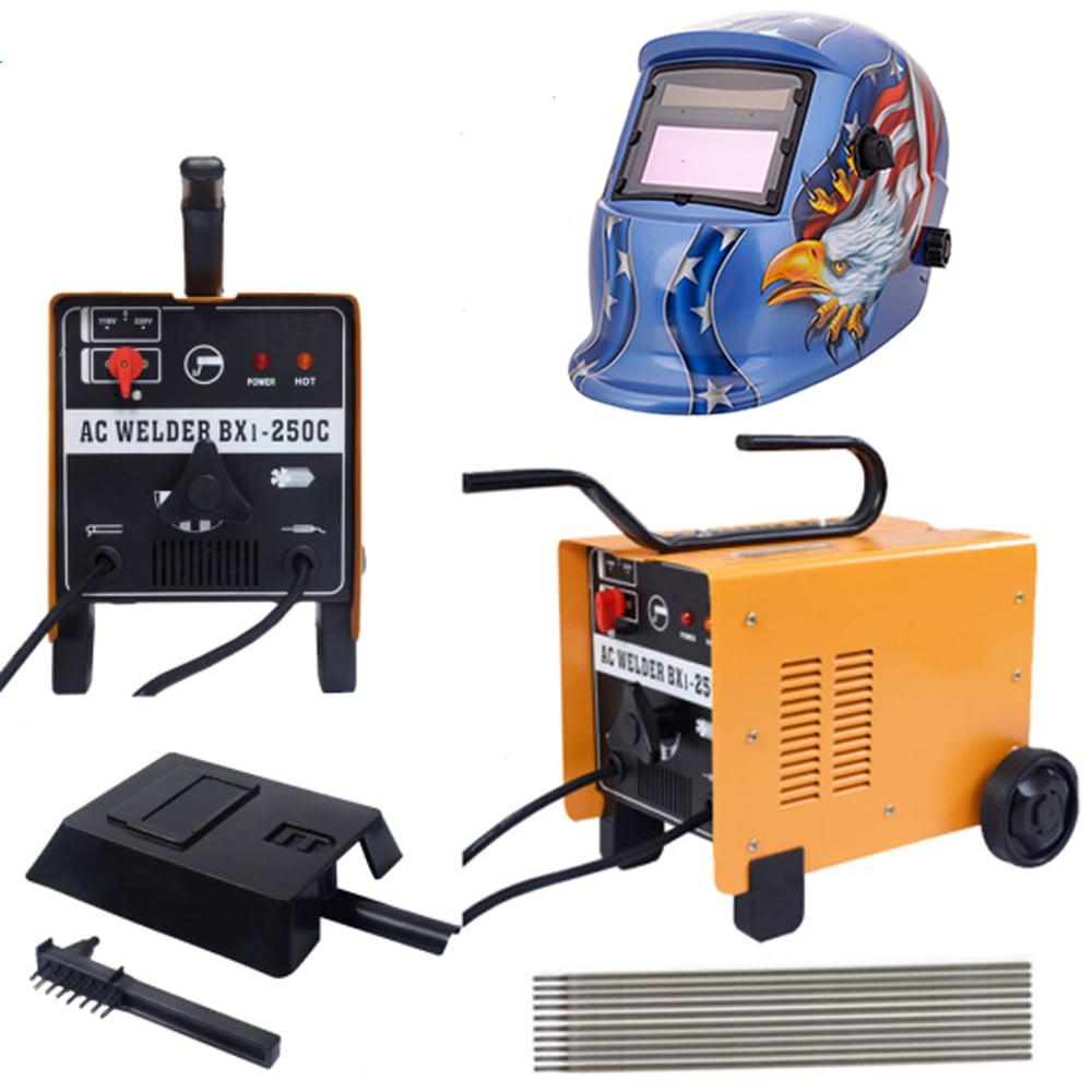 Zimtown 250 Amp Arc Welder Dual Voltage AC Flux Core Wire Automatic Feed Welding Machine + Welding Helmet Mask by