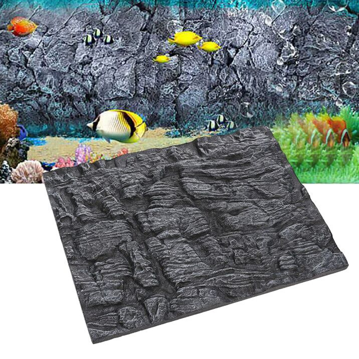 Meigar 1 2Pcs 3D Foam Rock Aquarium Background Fish Tank Reptile Reptile Marine 23''x18'' by