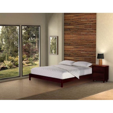 Contemporary Platform Bed In Mahogany Finished Wood Full