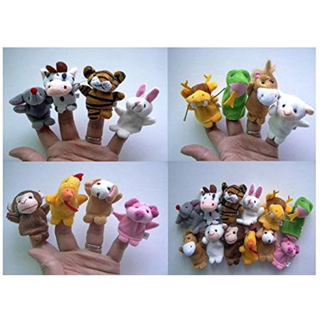 Soft Plush Velour Animal Hand Puppets Kids Animal Finger - 10 Pieces - Halloween Finger Puppets Craft