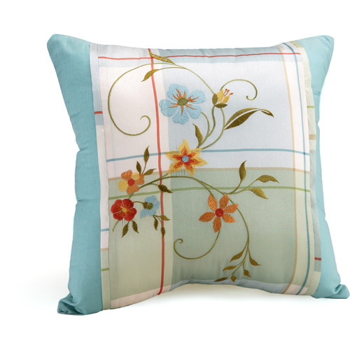 Better Homes and Gardens Posies and Plaid Collection Square Decorative Pillow