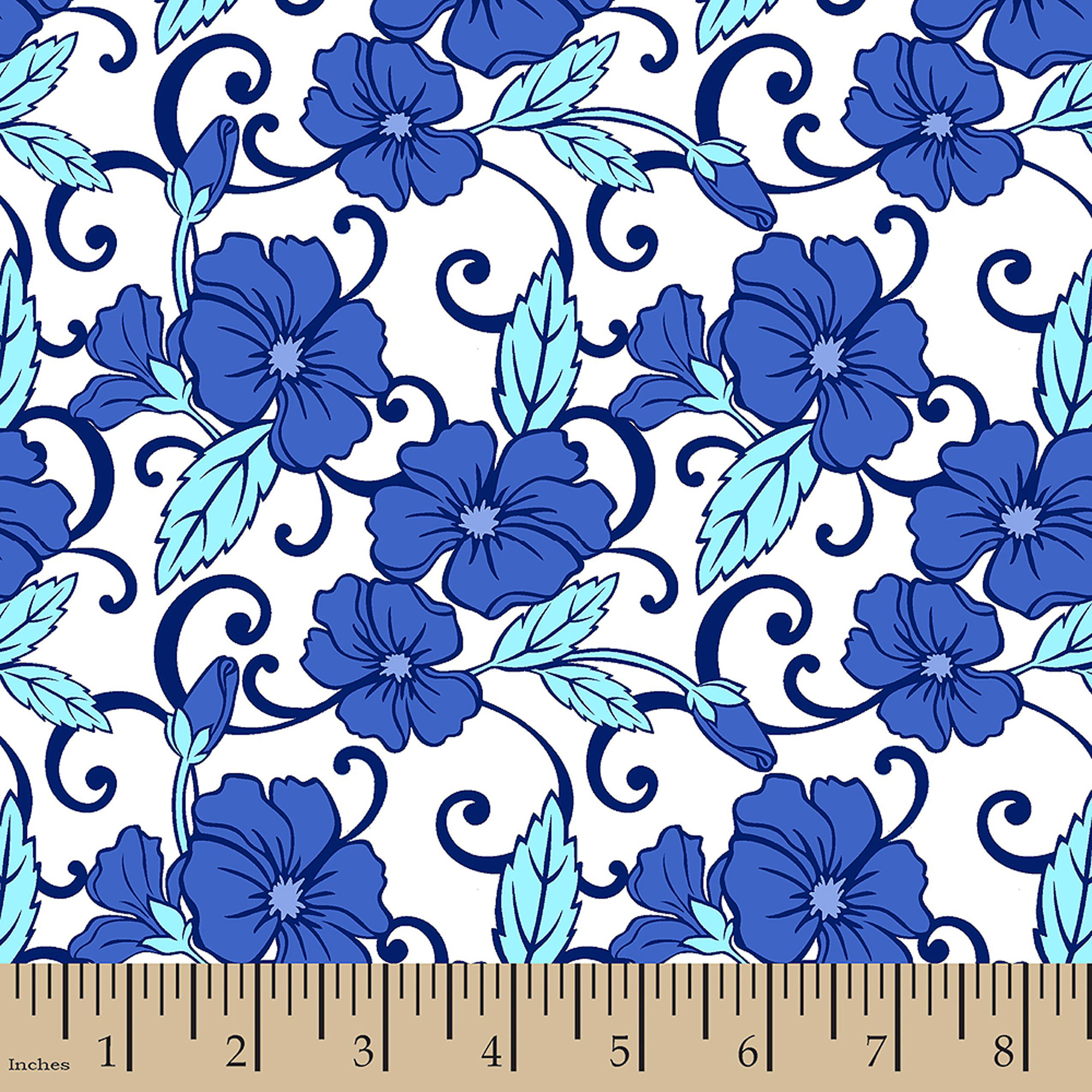"Toute Sweet Floral Twist, Cotton, Blue, 44/45"" Wide, Fabric By The Yard"
