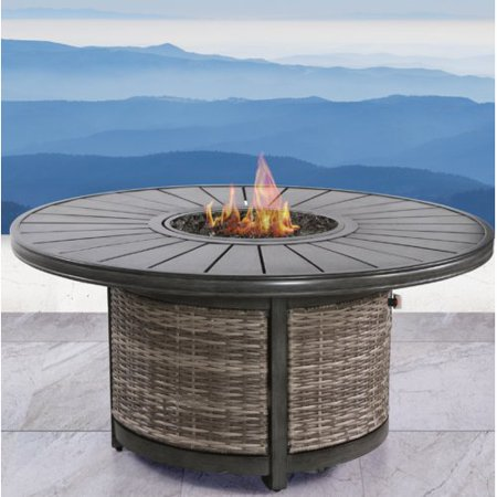 Century Propane - Living Source International Vardin Resort Wicker Propane Fire Pit Table