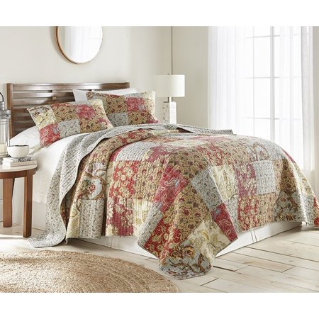 Chezmoi Collection Leslie 3-Piece Floral Patchwork Reversible 100% Cotton Vintage Washed Quilt Set