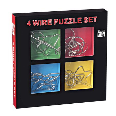 Kidstech Metal Brian Teaser - Wire Puzzles, Set of 4, Mind Game Handheld Disentangled Puzzle Toys, Educational Puzzle Ch Mind Teaser Puzzles