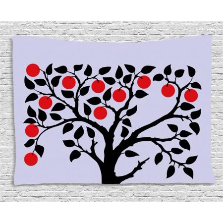 Apple Tapestry, Black Tree with Ripe Red Nutritious Fruit Flourishing Nature Garden Forest Art, Wall Hanging for Bedroom Living Room Dorm Decor, 60W X 40L Inches, Lilac Black Red, by Ambesonne