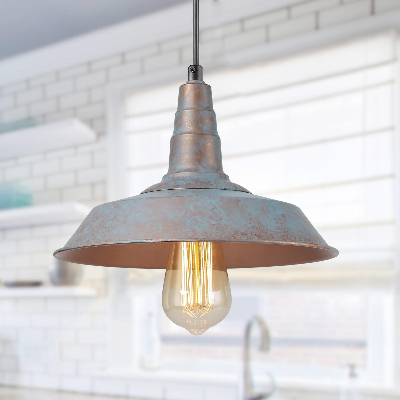 Lnc 1 Light Rustic Pendant Lighting For Kitchen Island Vintage Blue Barn Ceiling Lights Walmart Com Walmart Com