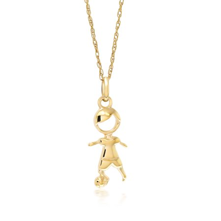 10K Yellow Gold Boy and Soccer Ball Pendant With 18